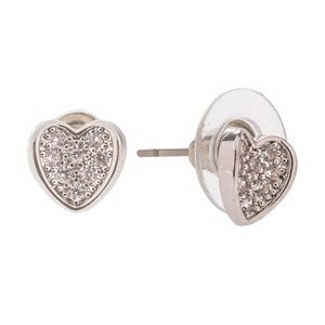 Jewelry - 🆕 Dainty Silver Rhinestone Pave Heart Earrings